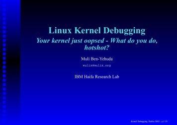 Linux Kernel Debugging - Haifux - Haifa Linux Club