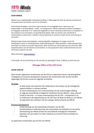 Manager Office of the CEO (m/v) - iMinds