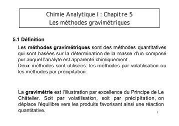 Chimie Analytique I: Chapitre 5 Les méthodes gravimétriques