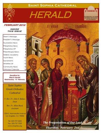 February 2012 - Saint Sophia Greek Orthodox Cathedral