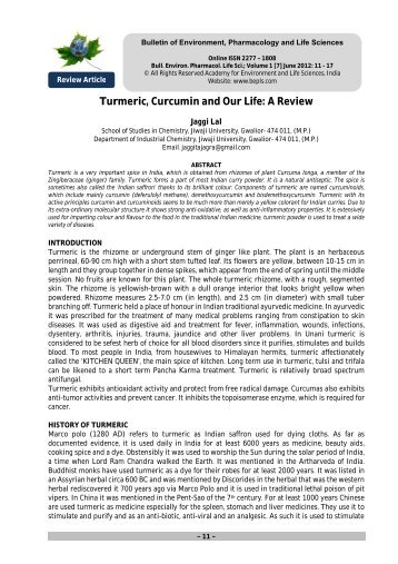 Turmeric, Curcumin and Our Life: A Review - Bulletin of Environment ...