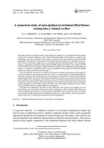 A numerical study of auto-ignition in turbulent lifted flames issuing ...