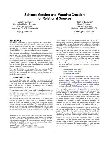 Schema Merging and Mapping Creation for Relational Sources