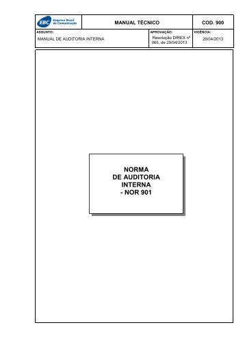NORMA DE AUDITORIA INTERNA - NOR 901 - EBC