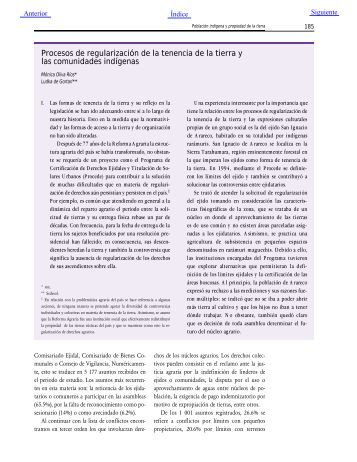 Procesos de regularización de la tenencia de la tierra y las ...