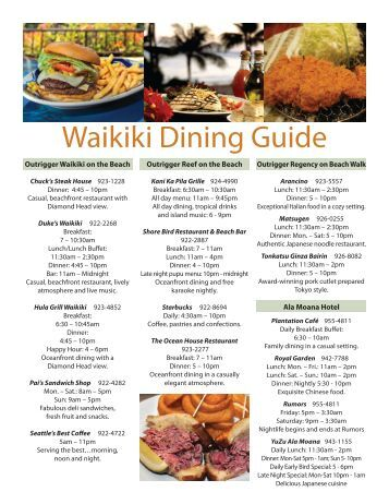 Waikiki Dining Guide - Outrigger Hotels and Resorts