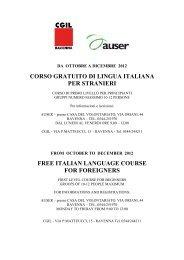 corso gratuito di lingua italiana per stranieri free ... - CGIL Ravenna