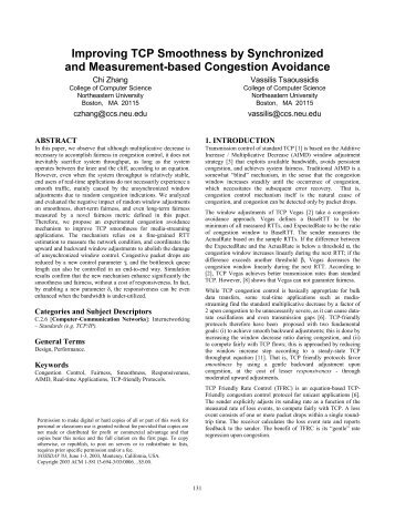 Improving TCP Smoothness by Synchronized and Measurement ...