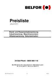 Preisliste 24-Std-Pikett - Belfor
