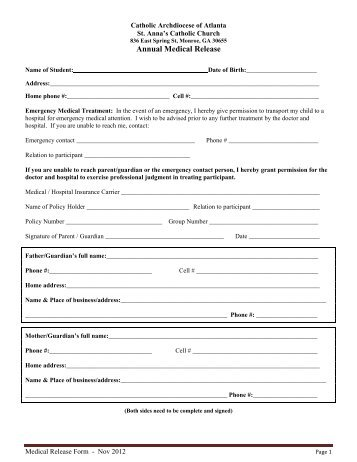 Fjcc Hebrew School  Emergency Medical Release Form