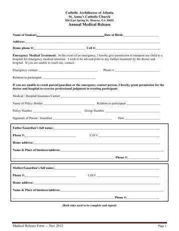 Fjcc Hebrew School Emergency Medical Release Form