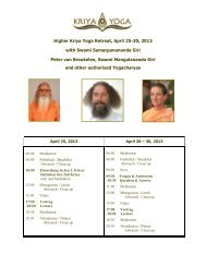 Program and Details, please read carefully - Kriya Yoga Institute