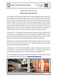 Antimicrobial Copper Takes Off - Copper Development Association