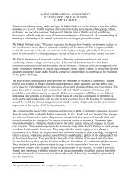 Baha'i Seven Year Plan of Action on Climate Change - Bahá'í World ...