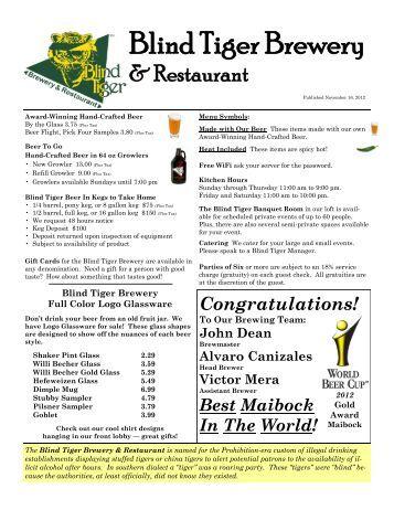 Cavalier Restaurant Menu