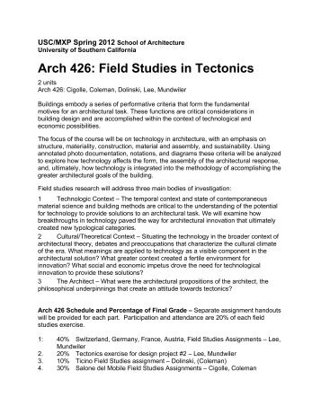 Great Arch 426 Integrated Syllabus   USC School Of Architecture .