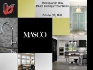 Third Quarter 2012 Masco Earnings Presentation October 30, 2012