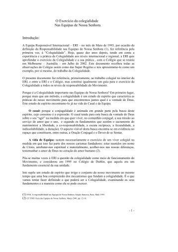A Colegialidade nas ENS - Equipes Notre-Dame