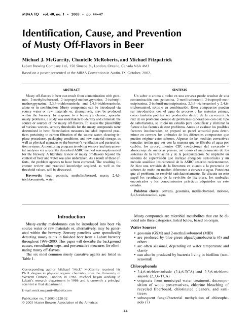 Identification, Cause, and Prevention of Musty Off-Flavors in Beer