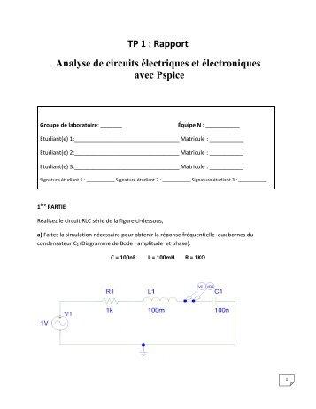 TP 1 : Rapport Analyse de circuits électriques et ... - Moodle
