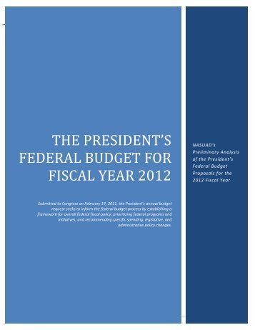 the president's federal budget for fiscal year 2012 - National ...