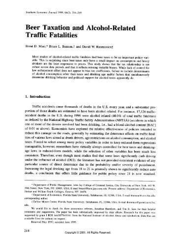 Beer taxation and alcohol-related traffic fatalities. - Florida State ...