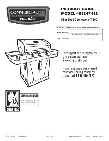 PRODUCT GUIDE MODEL 463247412 - Char-Broil Grills