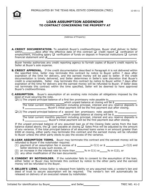 Loan Assumption Addendum - Texas Real Estate Commission