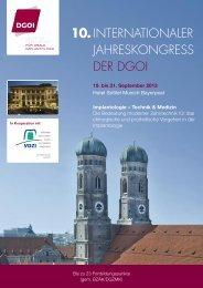 Programm des 10. Internationalen Jahreskongress der DGOI