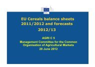 EU Cereals balance sheets 2011/2012 and forecasts 2012/13