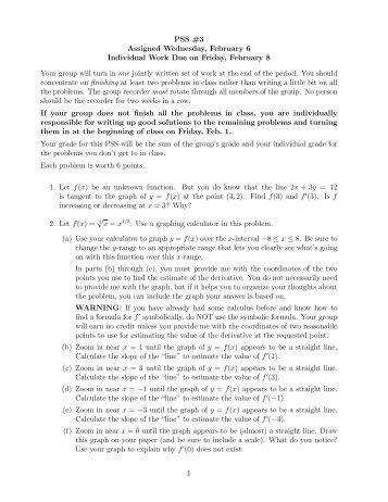 Problem Solving Session #3 Due Feb. 8 (pdf)
