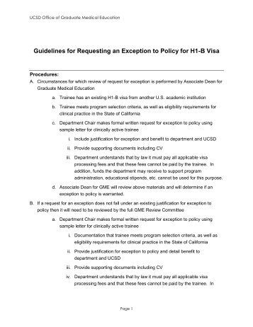Guidelines for Requesting an Exception to Policy for H1-B Visa