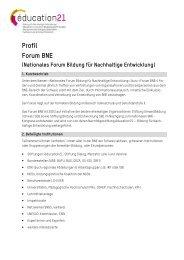 Profil Forum BNE (PDF) - Bildung für Nachhaltige Entwicklung