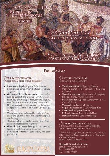 Metodo natura, natura d'un metodo - Accademia Vivarium Novum