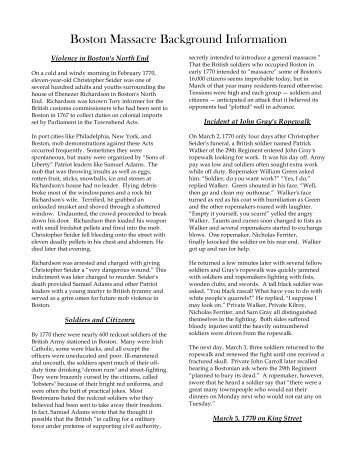 proceeded most o boston massacre background information