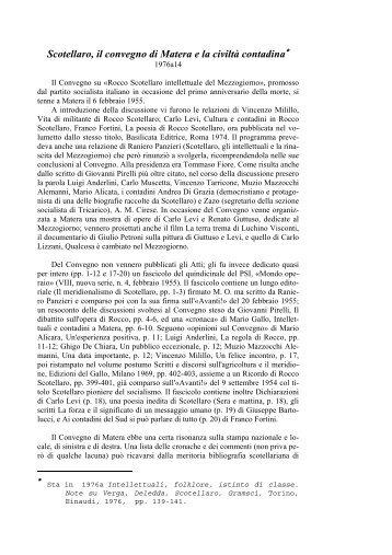 Scotellaro, il convegno di Matera e la civiltà contadina - Amcirese.it