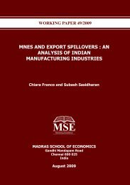 MNES And Export Spillovers - Madras School of Economics