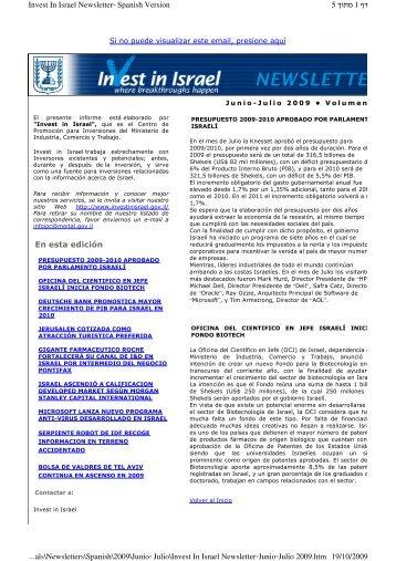En esta edición 1 5 Invest In Israel Newsletter Spanish Version 19 ...