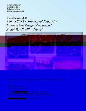 Annual Site Environmental Report for Tonopah Test Range, Nevada ...
