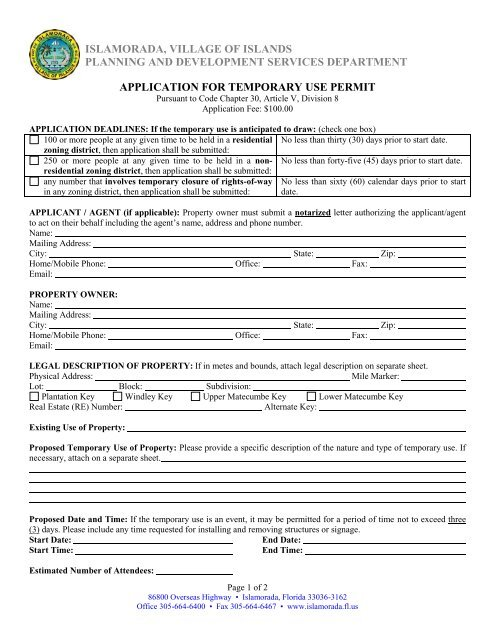 Temporary Use Permit Application - Islamorada, Village of