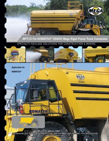 MTT15 For KOMATSU® HD605 Mega Rigid ... - Mega Corporation
