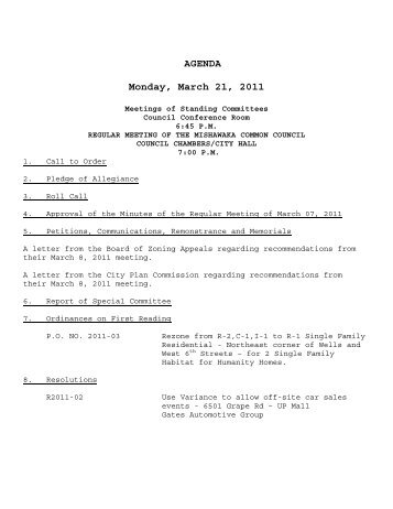 AGENDA Monday, March 21, 2011 - City of Mishawaka