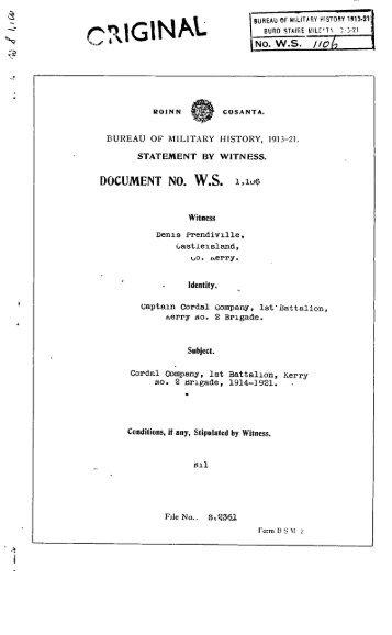 ROINN COSANTA. BUREAU OF MILITARY HISTORY, 1913-21 ...