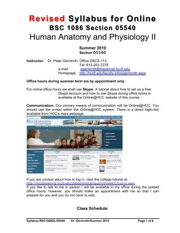 Syllabus Human Anatomy and Physiology I - Hillsborough ...