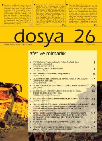 Dosya 26: afet ve mimarlık - Mimarlar Odası Ankara Şubesi