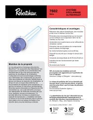 Maintien de la propreté SYSTÈME D'ÉCLAIRAGE ULTRAVIOLET ...