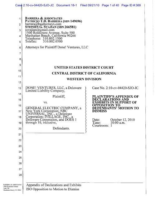 Case 2:10-cv-04420-SJO-JC Document 18-1 Filed 09/21/10 Page 1 ...