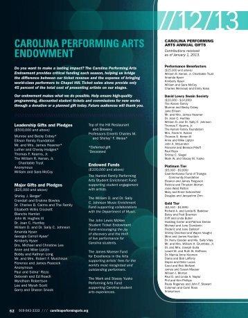 CAROLINA PERFORMING ARTS ENDOWMENT
