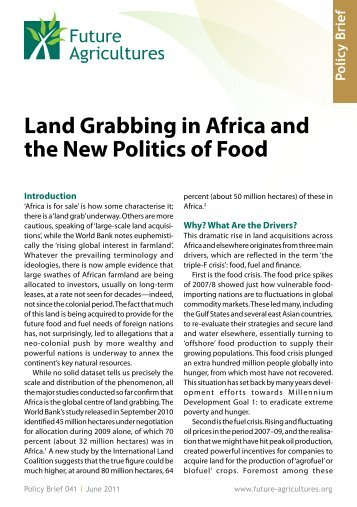 Land Grabbing In Africa And The New Politics Of Food