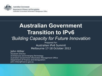 Australian Government Transition to IPv6 - IPv6.org.au